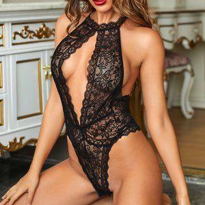 Black Lace High Neck Romance Teddy Lingerie Suit